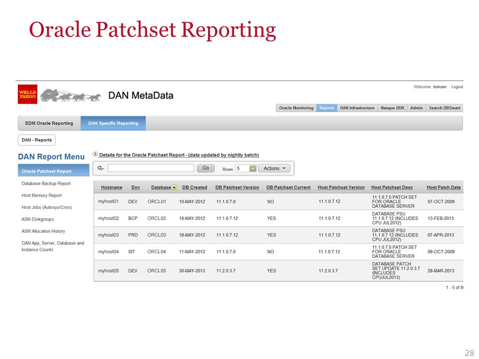 Oracle Patchset Reporting 28
