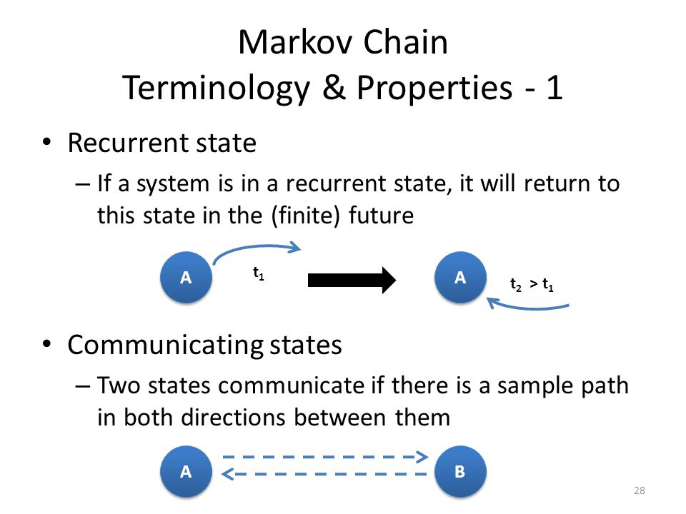 Markov Chain Terminology & Properties - 1 Recurrent state – If a system is in a recurrent state, it will return to this state in the (finite) future Communicating states – Two states communicate if there is a sample path in both directions between them 28 A A A A t1t1 t 2 > t 1 A A B B