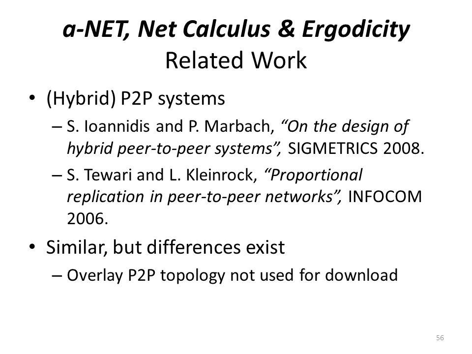 a-NET, Net Calculus & Ergodicity Related Work (Hybrid) P2P systems – S.