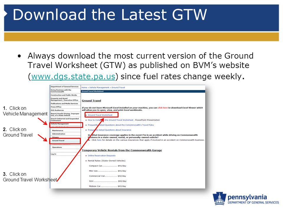 Download the Latest GTW Always download the most current version of the Ground Travel Worksheet (GTW) as published on BVM's website (www.dgs.state.pa.