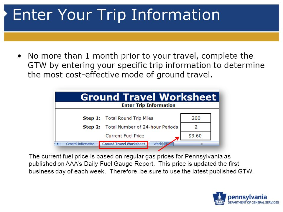 Enter Your Trip Information No more than 1 month prior to your travel, complete the GTW by entering your specific trip information to determine the mo