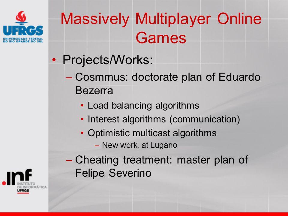 Massively Multiplayer Online Games Projects/Works: –Cosmmus: doctorate plan of Eduardo Bezerra Load balancing algorithms Interest algorithms (communic
