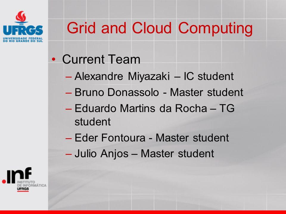 Grid and Cloud Computing Current Team –Alexandre Miyazaki – IC student –Bruno Donassolo - Master student –Eduardo Martins da Rocha – TG student –Eder Fontoura - Master student –Julio Anjos – Master student