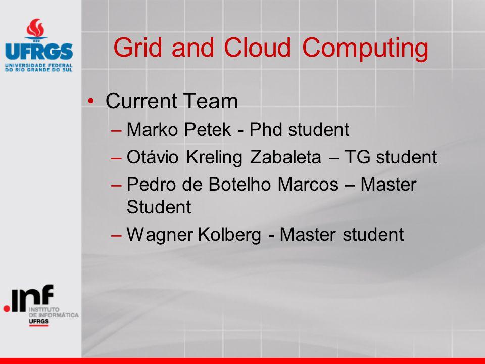 Grid and Cloud Computing Current Team –Marko Petek - Phd student –Otávio Kreling Zabaleta – TG student –Pedro de Botelho Marcos – Master Student –Wagner Kolberg - Master student