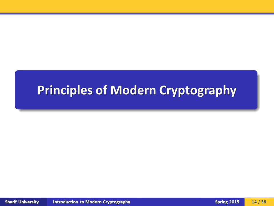 Introduction to Modern Cryptography Sharif University Spring 2015 Principles of Modern Cryptography 14 / 38