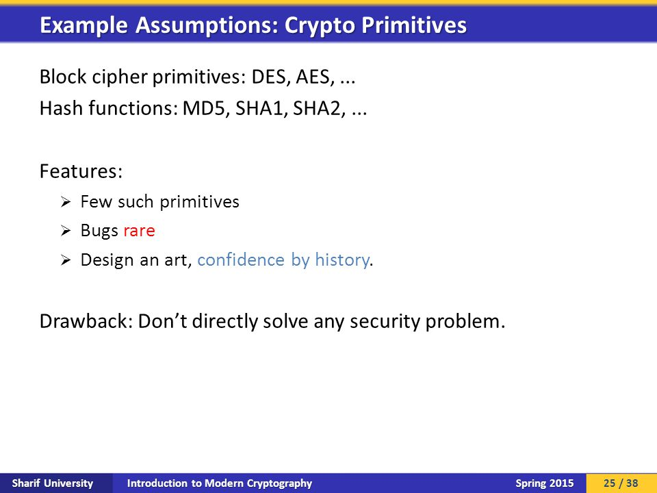 Introduction to Modern Cryptography Sharif University Spring 2015 Block cipher primitives: DES, AES,... Hash functions: MD5, SHA1, SHA2,... Features: