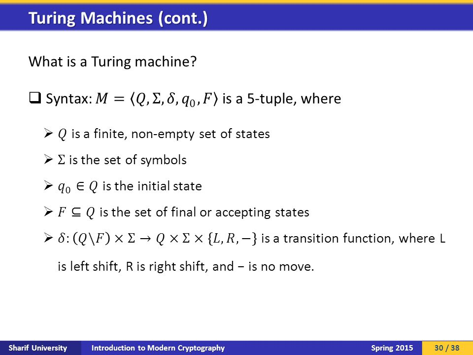 Introduction to Modern Cryptography Sharif University Spring 2015 Turing Machines (cont.) 30 / 38