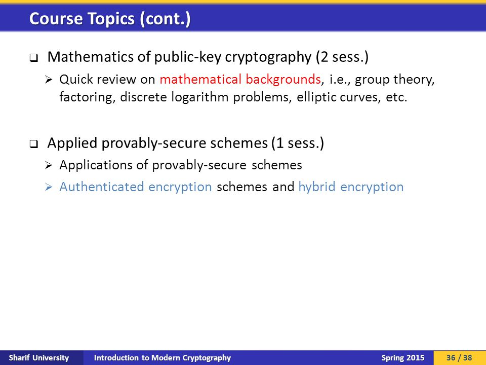 Introduction to Modern Cryptography Sharif University Spring 2015  Mathematics of public-key cryptography (2 sess.)  Quick review on mathematical ba
