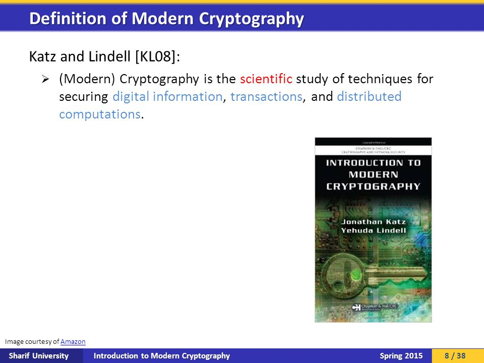 Introduction to Modern Cryptography Sharif University Spring 2015 Katz and Lindell [KL08]:  (Modern) Cryptography is the scientific study of techniqu