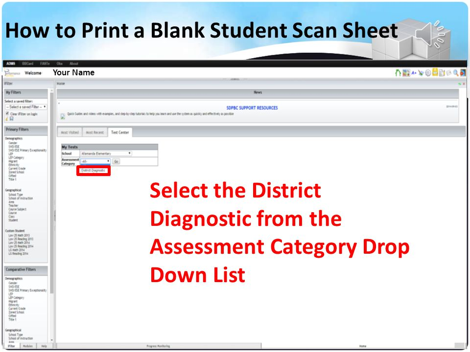 Your Name Select Your School from the Drop Down List How to Print a Blank Student Scan Sheet