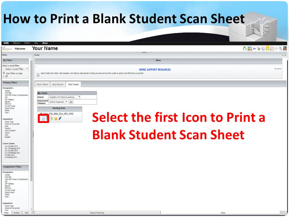 How to Print a Blank Student Scan Sheet (Icons Key)