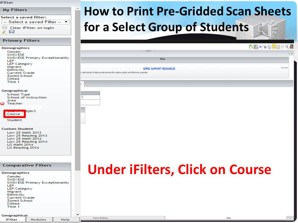 How to Print Pre-Gridded Scan Sheets for a Select Group of Students Your Name List of Teacher's Names Click on the Name of the Teacher and Click Save
