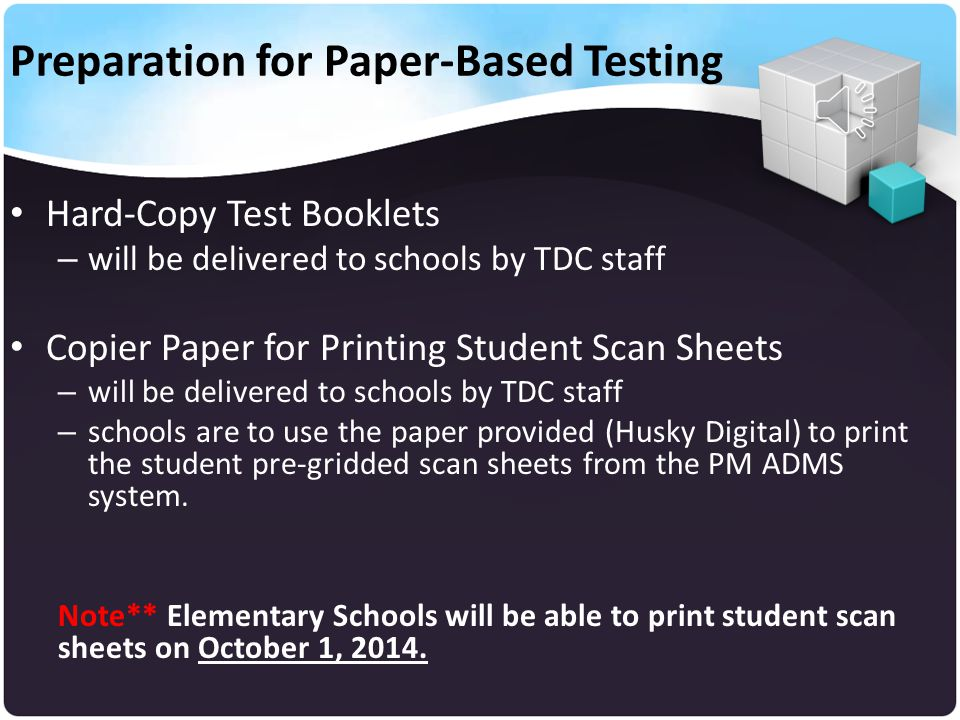 Preparation for Paper-Based Testing The following guiding instructions apply to the administration for the FSA Grades 3 and 4 Reading & Math Diagnostic Assessments – Printing Pre-Gridded Diagnostic Answer Sheets – Scanning Diagnostic Answer Sheets – Reviewing Scanview Activity