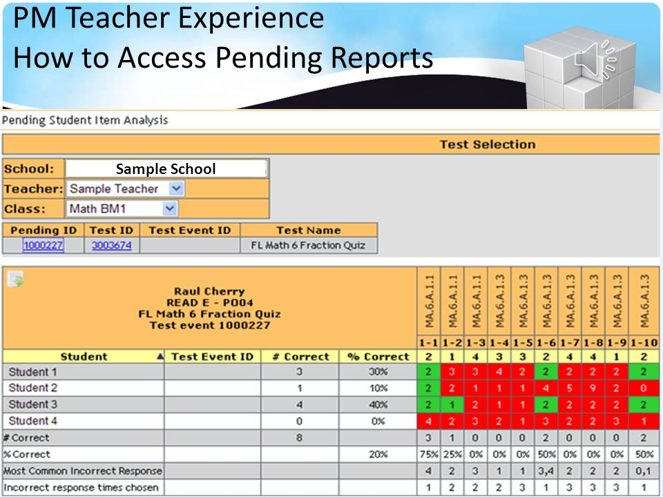 Your Name Select a Class from the Drop Down List PM Teacher Experience How to Access Pending Reports Teacher School Teacher Name