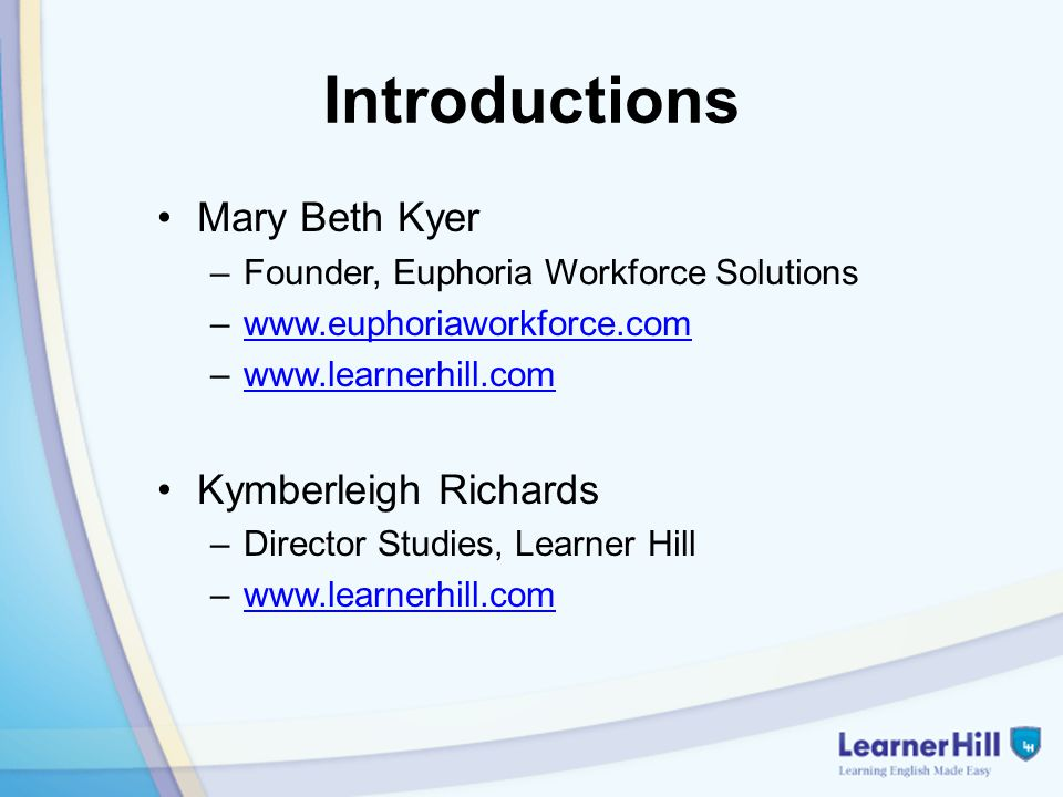Introductions Mary Beth Kyer –Founder, Euphoria Workforce Solutions –www.euphoriaworkforce.comwww.euphoriaworkforce.com –www.learnerhill.comwww.learne