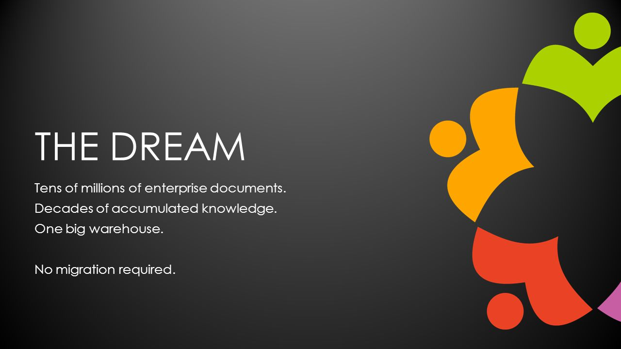 THE DREAM Tens of millions of enterprise documents. Decades of accumulated knowledge. One big warehouse. No migration required.