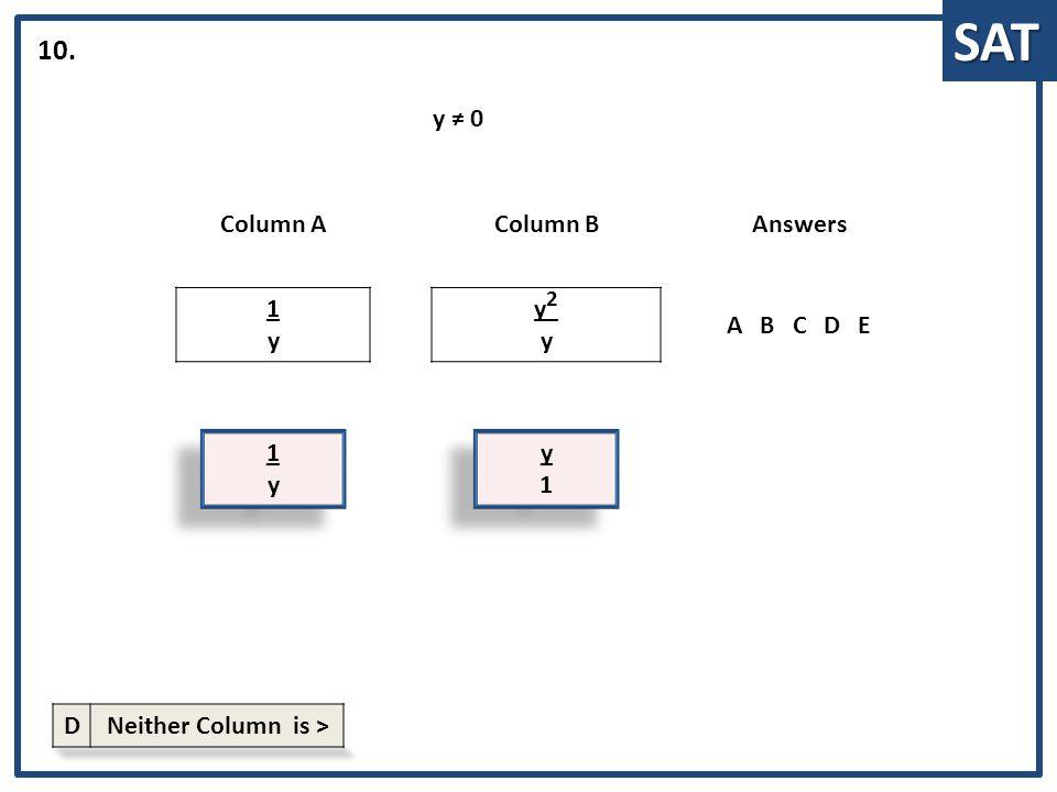 SAT 1y1y 1 y Column AColumn BAnswers 1y1y y2yy2y ABCDE 10. y1y1 y 1 y ≠ 0