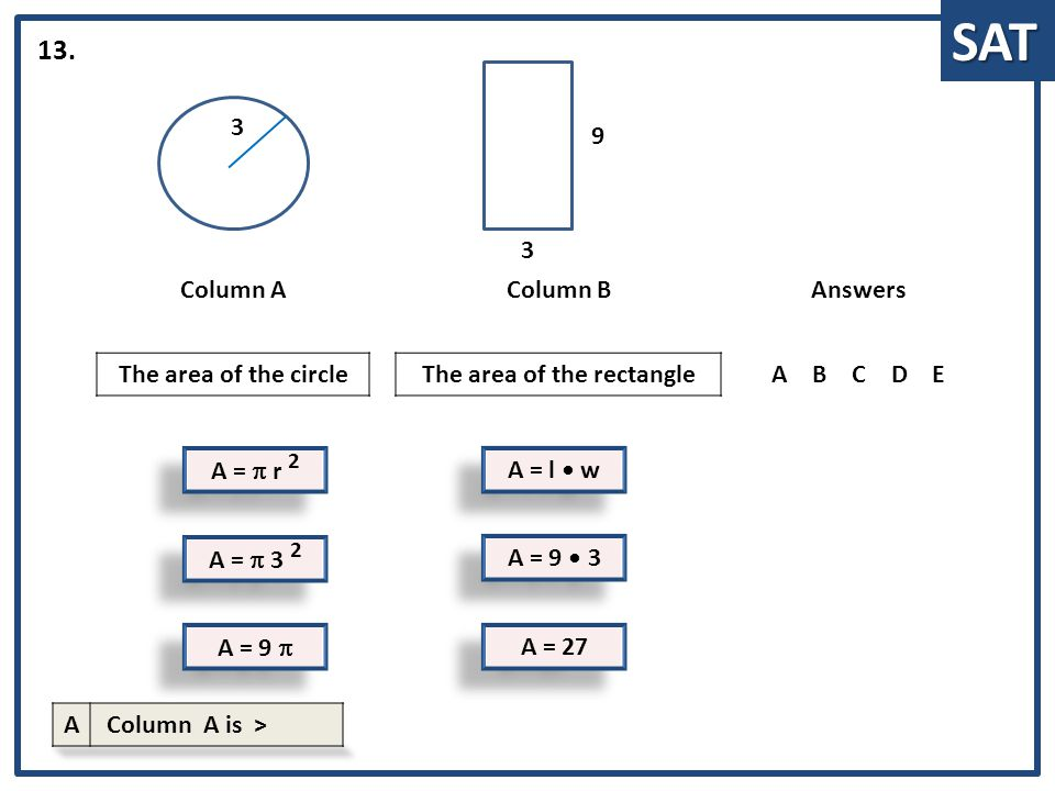 SAT A =  r 2 Column AColumn BAnswers The area of the circleThe area of the rectangleABCDE 13. A = l w 3 A =  3 2 A = 9  A = 9 3 A = 27 3 9