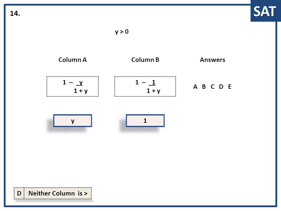 SAT y y Column AColumn BAnswers 1 – y 1 + y 1 – 1 1 + y ABCDE 14. 1 1 y > 0