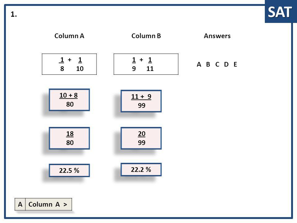 SAT 10 + 8 80 10 + 8 80 Column AColumn BAnswers 1 + 1 8 10 1 + 1 9 11 ABCDE 1.