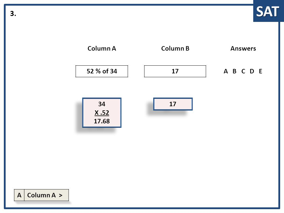 SAT 34 X.52 17.68 34 X.52 17.68 Column AColumn BAnswers 52 % of 3417ABCDE 3. 17