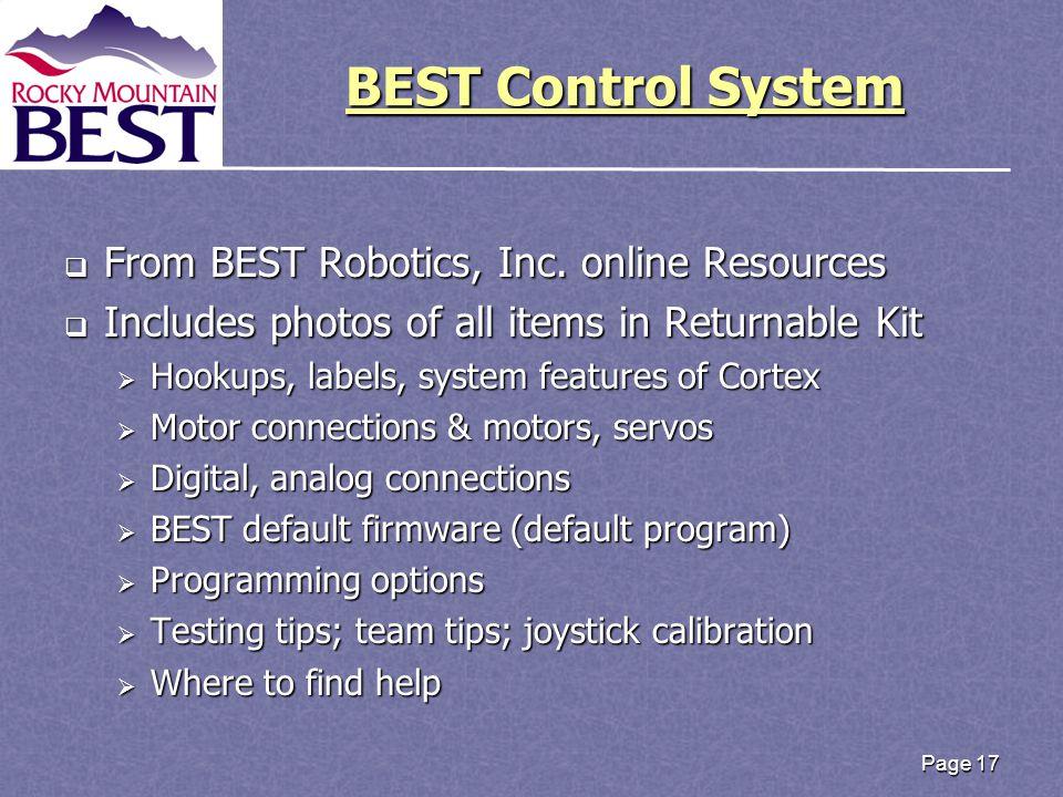 BEST Control System BEST Control System  From BEST Robotics, Inc.