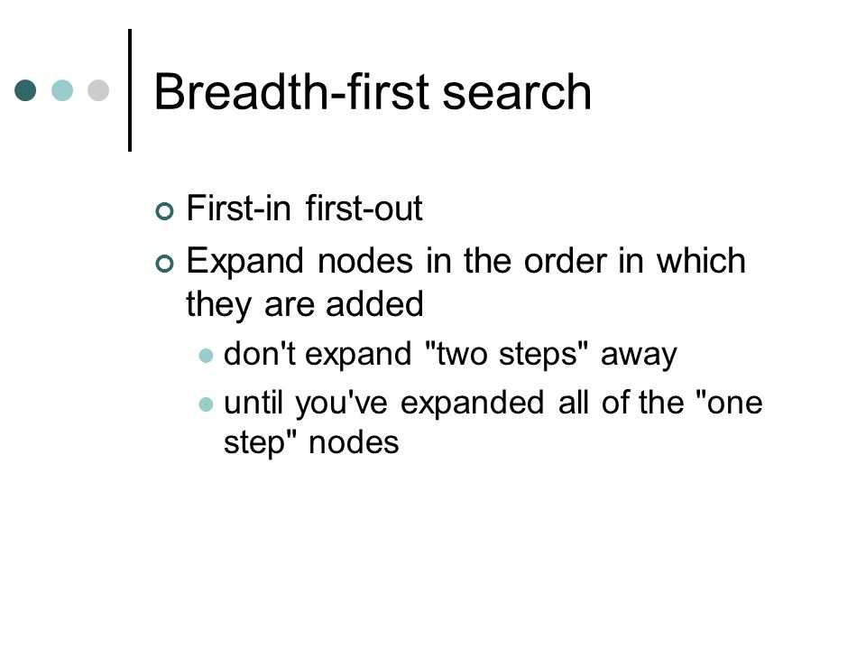 Breadth-first search First-in first-out Expand nodes in the order in which they are added don't expand