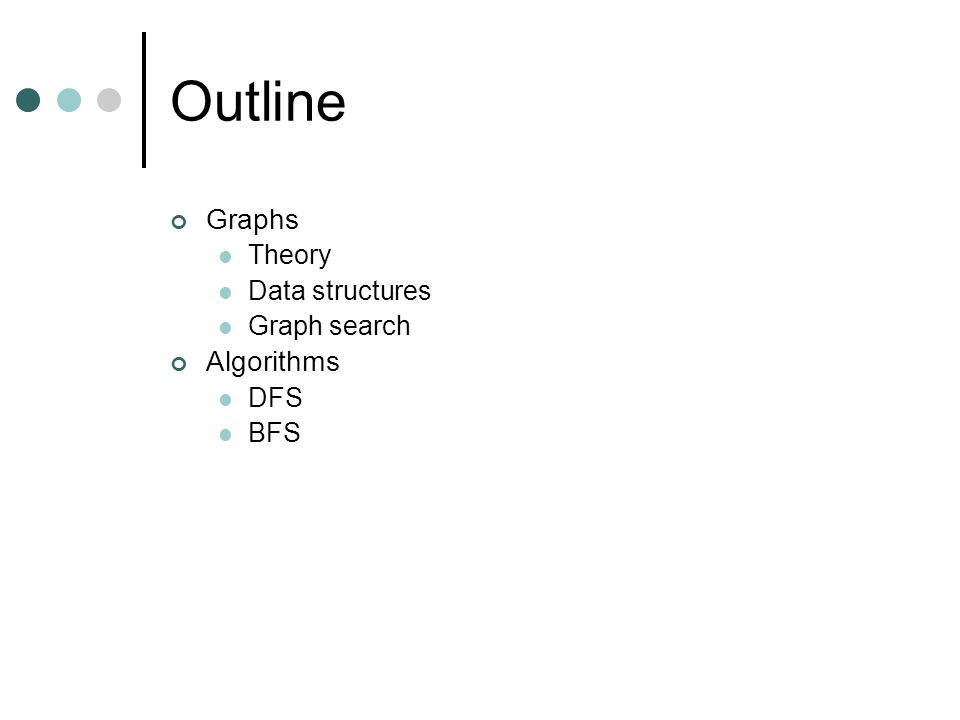 Outline Graphs Theory Data structures Graph search Algorithms DFS BFS