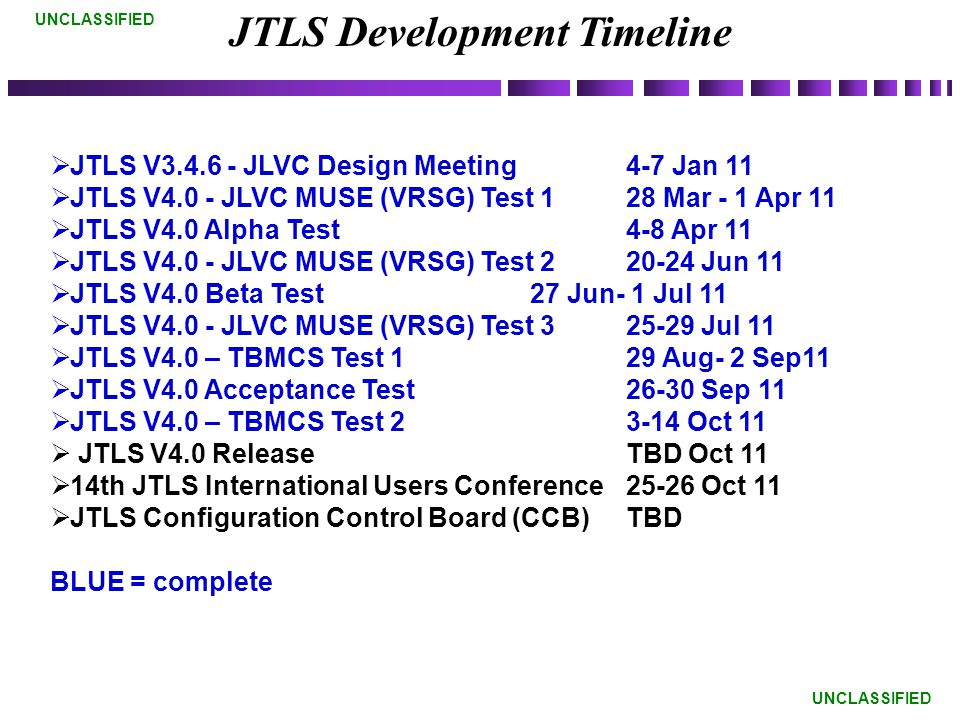 UNCLASSIFIED JTLS Development Timeline  JTLS V3.4.6 - JLVC Design Meeting 4-7 Jan 11  JTLS V4.0 - JLVC MUSE (VRSG) Test 128 Mar - 1 Apr 11  JTLS V4.0 Alpha Test 4-8 Apr 11  JTLS V4.0 - JLVC MUSE (VRSG) Test 220-24 Jun 11  JTLS V4.0 Beta Test 27 Jun- 1 Jul 11  JTLS V4.0 - JLVC MUSE (VRSG) Test 325-29 Jul 11  JTLS V4.0 – TBMCS Test 129 Aug- 2 Sep11  JTLS V4.0 Acceptance Test 26-30 Sep 11  JTLS V4.0 – TBMCS Test 23-14 Oct 11  JTLS V4.0 Release TBD Oct 11  14th JTLS International Users Conference 25-26 Oct 11  JTLS Configuration Control Board (CCB) TBD BLUE = complete