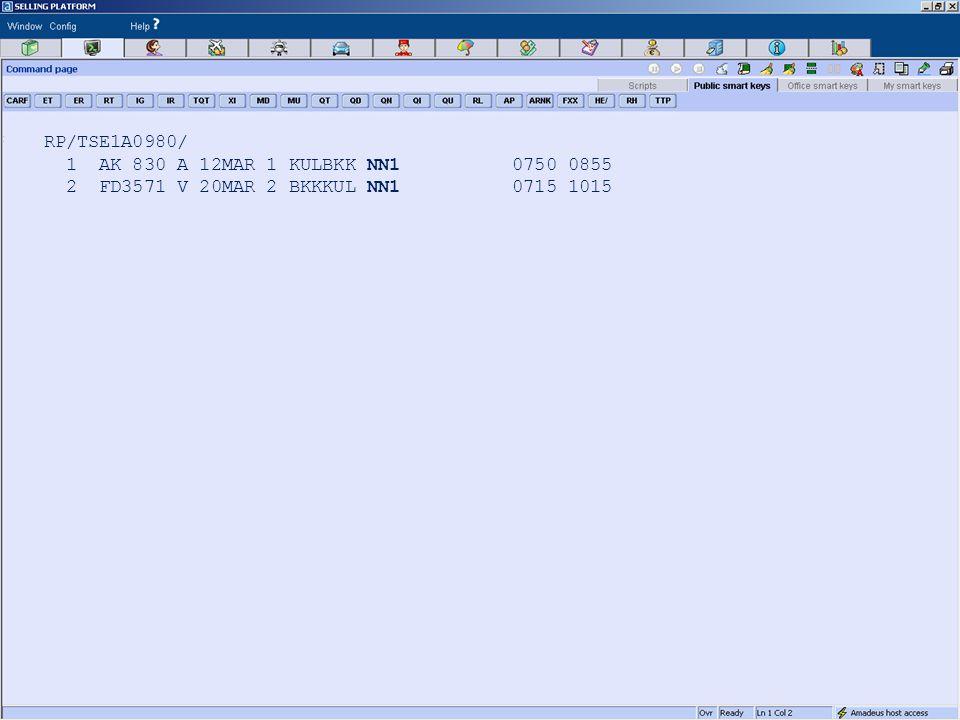 RP/TSE1A0980/ 1 AK 830 A 12MAR 1 KULBKK NN1 0750 0855 2 FD3571 V 20MAR 2 BKKKUL NN1 0715 1015
