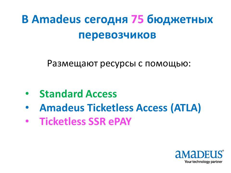 В Amadeus сегодня 75 бюджетных перевозчиков Размещают ресурсы с помощью: Standard Access Amadeus Ticketless Access (ATLA) Ticketless SSR ePAY