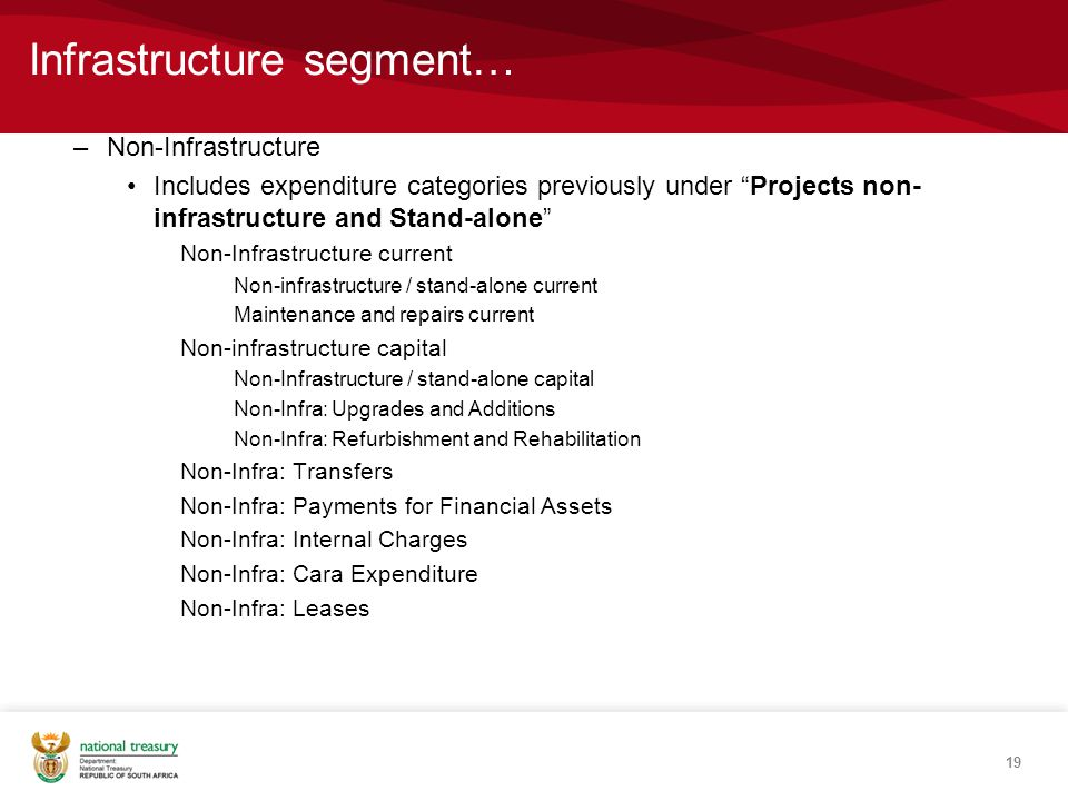 Infrastructure segment… –Non-Infrastructure Includes expenditure categories previously under Projects non- infrastructure and Stand-alone Non-Infrastructure current Non-infrastructure / stand-alone current Maintenance and repairs current Non-infrastructure capital Non-Infrastructure / stand-alone capital Non-Infra: Upgrades and Additions Non-Infra: Refurbishment and Rehabilitation Non-Infra: Transfers Non-Infra: Payments for Financial Assets Non-Infra: Internal Charges Non-Infra: Cara Expenditure Non-Infra: Leases 19