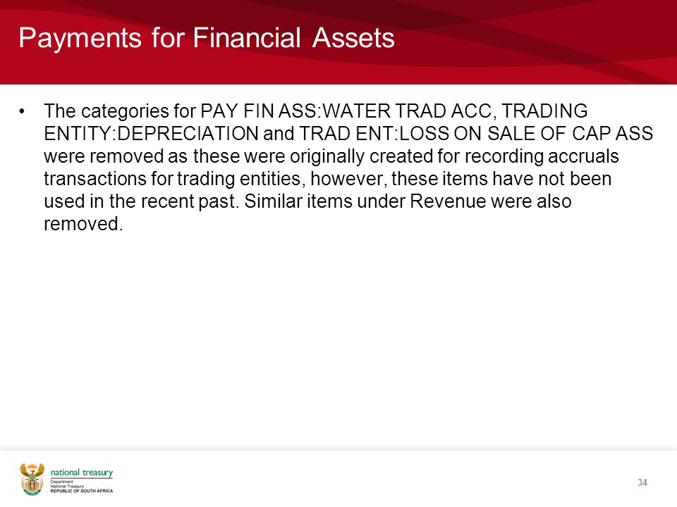 Payments for Financial Assets The categories for PAY FIN ASS:WATER TRAD ACC, TRADING ENTITY:DEPRECIATION and TRAD ENT:LOSS ON SALE OF CAP ASS were removed as these were originally created for recording accruals transactions for trading entities, however, these items have not been used in the recent past.