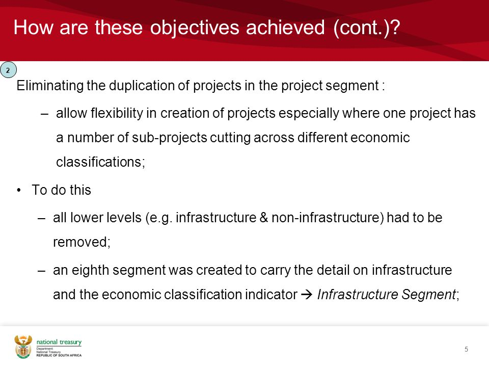 How are these objectives achieved (cont.)? Eliminating the duplication of projects in the project segment : –allow flexibility in creation of projects
