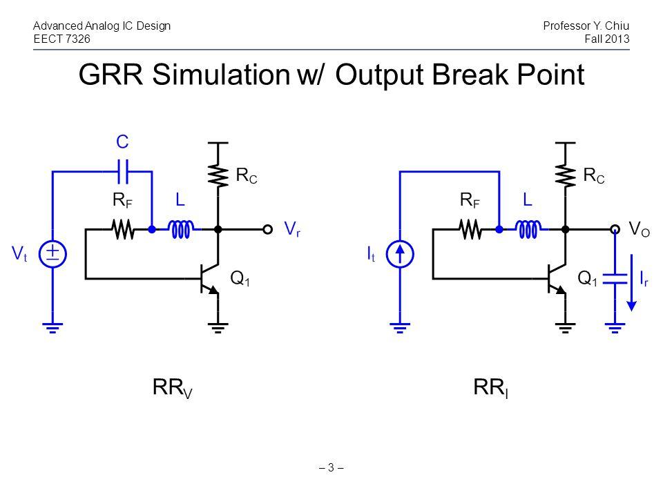 GRR Simulation w/ Output Break Point – 3 – Advanced Analog IC DesignProfessor Y. Chiu EECT 7326Fall 2013 RR V RR I