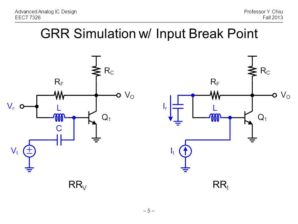 GRR Simulation w/ Input Break Point – 5 – Advanced Analog IC DesignProfessor Y. Chiu EECT 7326Fall 2013 RR V RR I