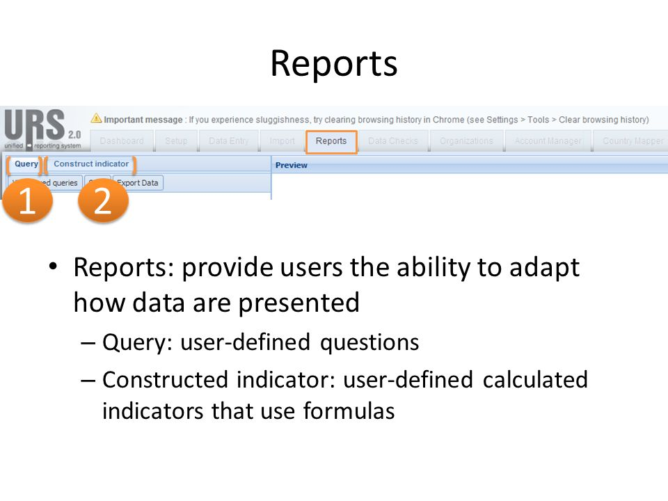 Reports Reports: provide users the ability to adapt how data are presented – Query: user-defined questions – Constructed indicator: user-defined calcu