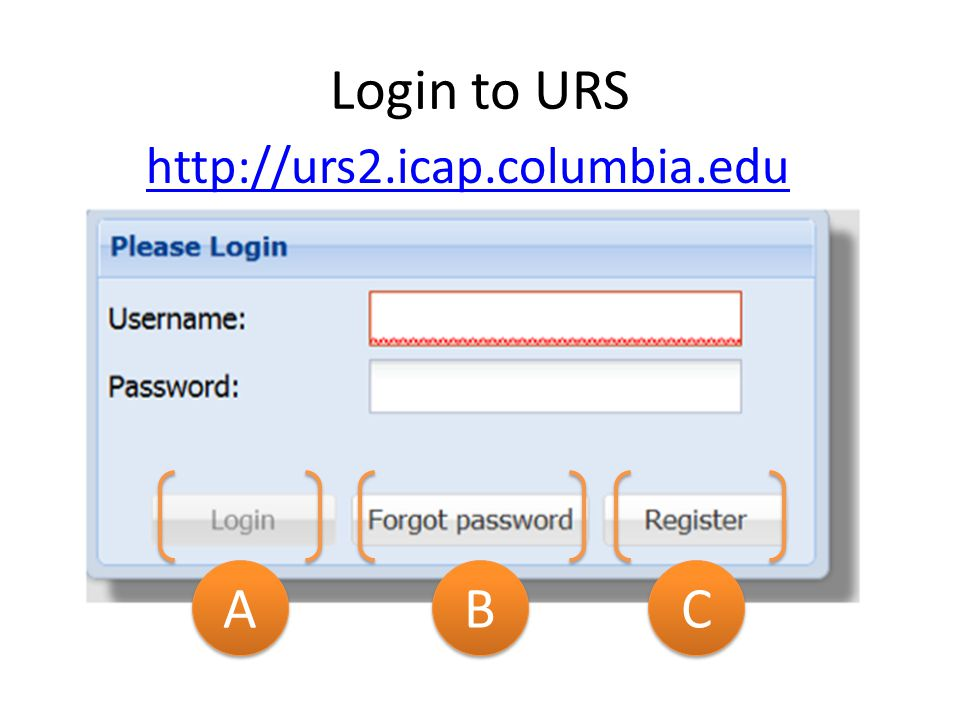 Login to URS A A B B C C http://urs2.icap.columbia.edu