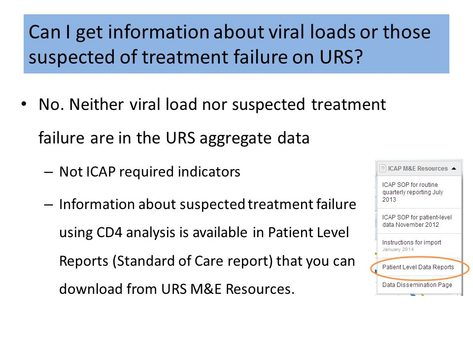 Can I get information about viral loads or those suspected of treatment failure on URS? No. Neither viral load nor suspected treatment failure are in