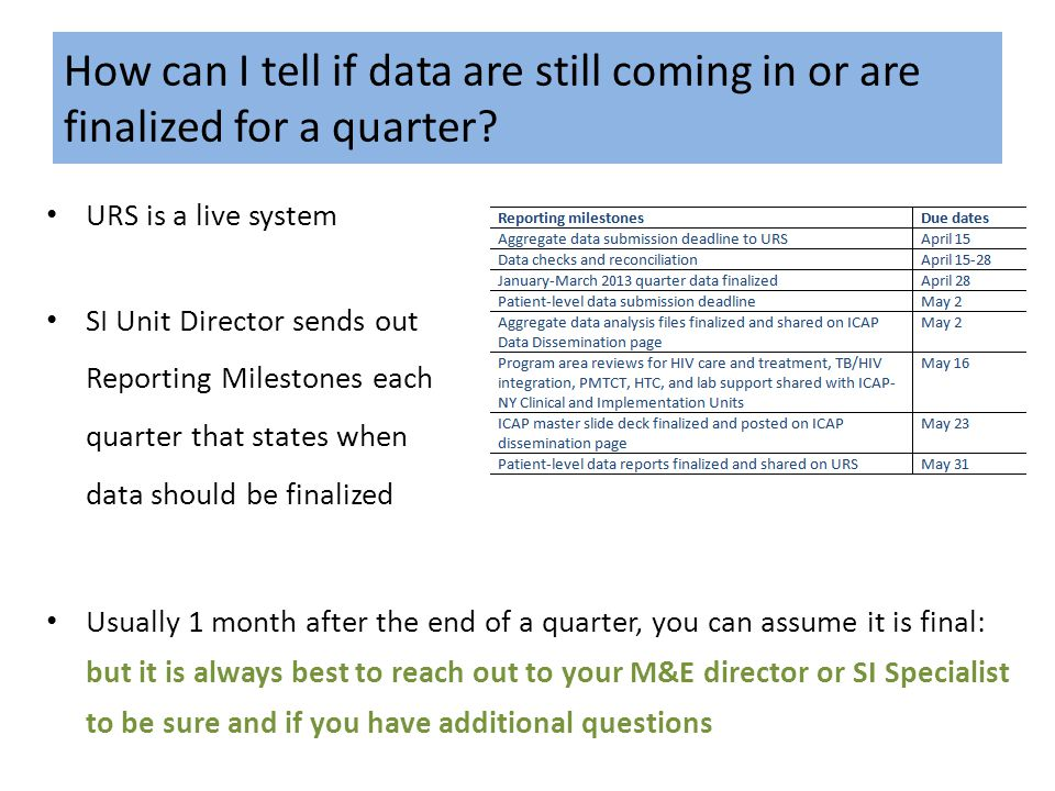 How can I tell if data are still coming in or are finalized for a quarter? URS is a live system SI Unit Director sends out Reporting Milestones each q