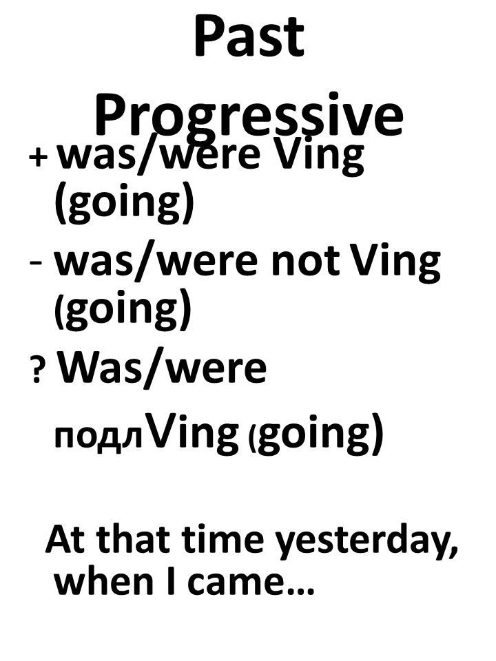 Past Progressive + was/were Ving (going) -was/were not Ving ( going) .