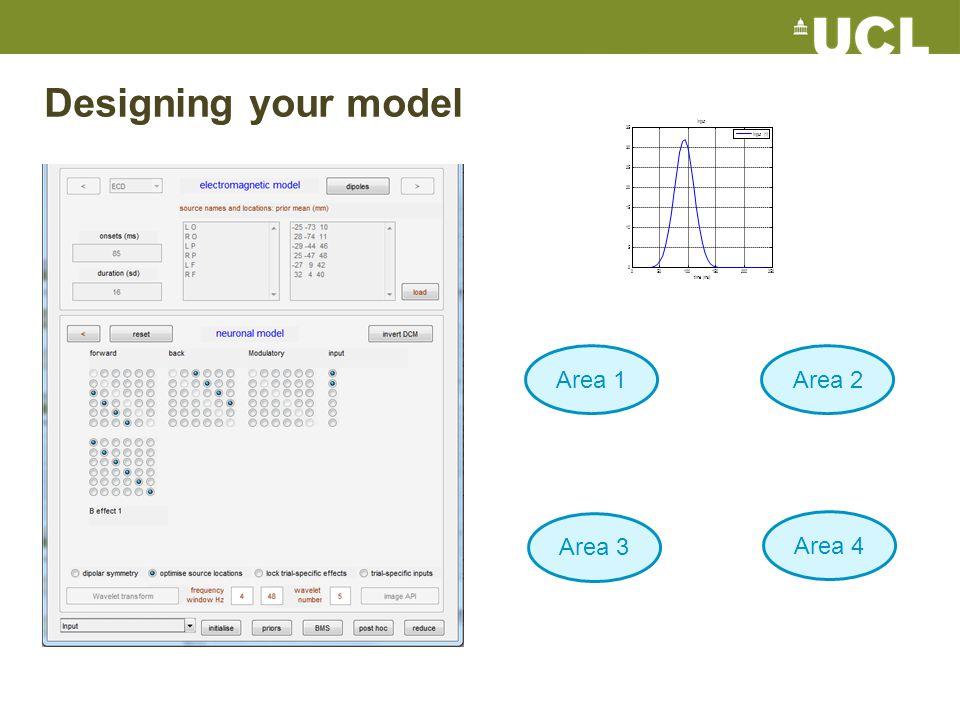 Designing your model 050100150200250 0 5 10 15 20 25 30 35 time (ms) input input (1) Area 1Area 2 Area 3 Area 4