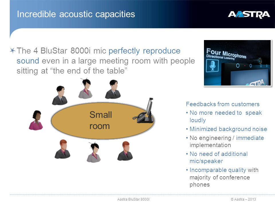 "© Aastra – 2013 The 4 BluStar 8000i mic perfectly reproduce sound even in a large meeting room with people sitting at ""the end of the table"" Incredibl"