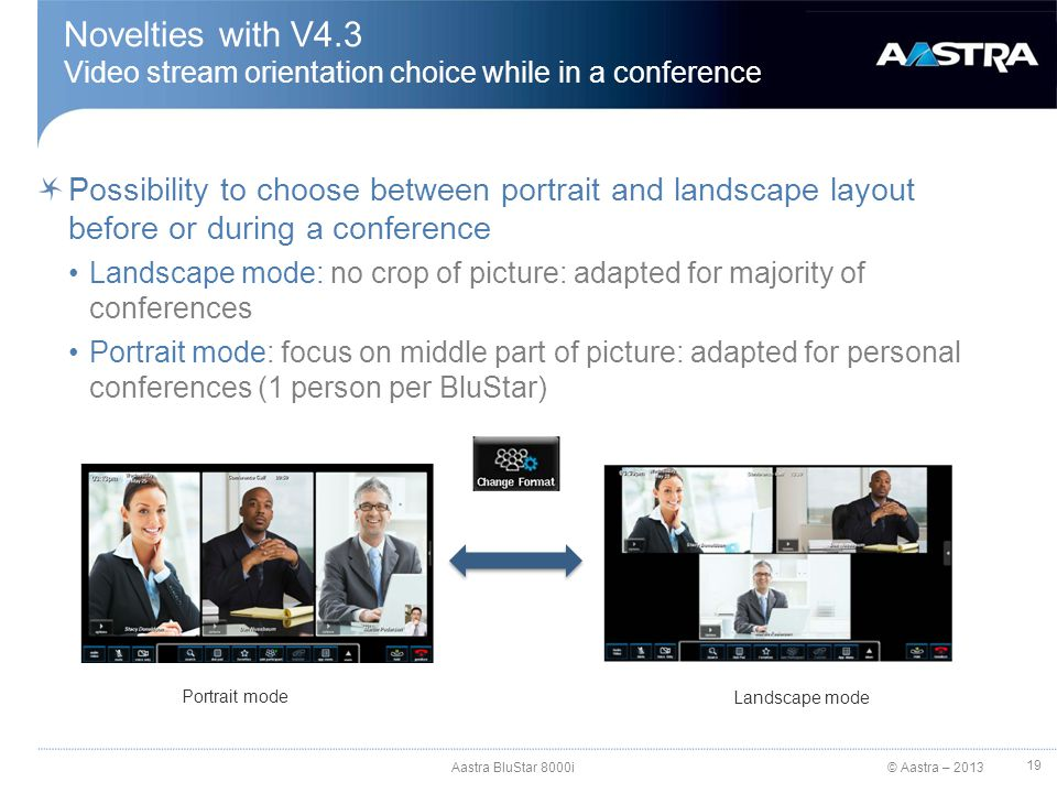 © Aastra – 2013 Novelties with V4.3 Video stream orientation choice while in a conference Possibility to choose between portrait and landscape layout