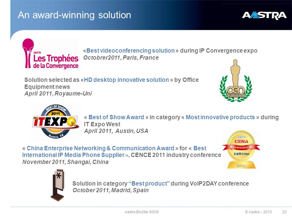 © Aastra – 2013 An award-winning solution 20 «Best videoconferencing solution » during IP Convergence expo Octobrer2011, Paris, France Solution select