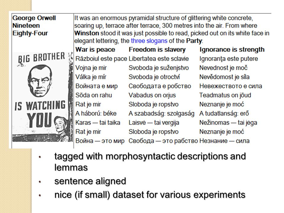 tagged with morphosyntactic descriptions and lemmas tagged with morphosyntactic descriptions and lemmas sentence aligned sentence aligned nice (if small) dataset for various experiments nice (if small) dataset for various experiments
