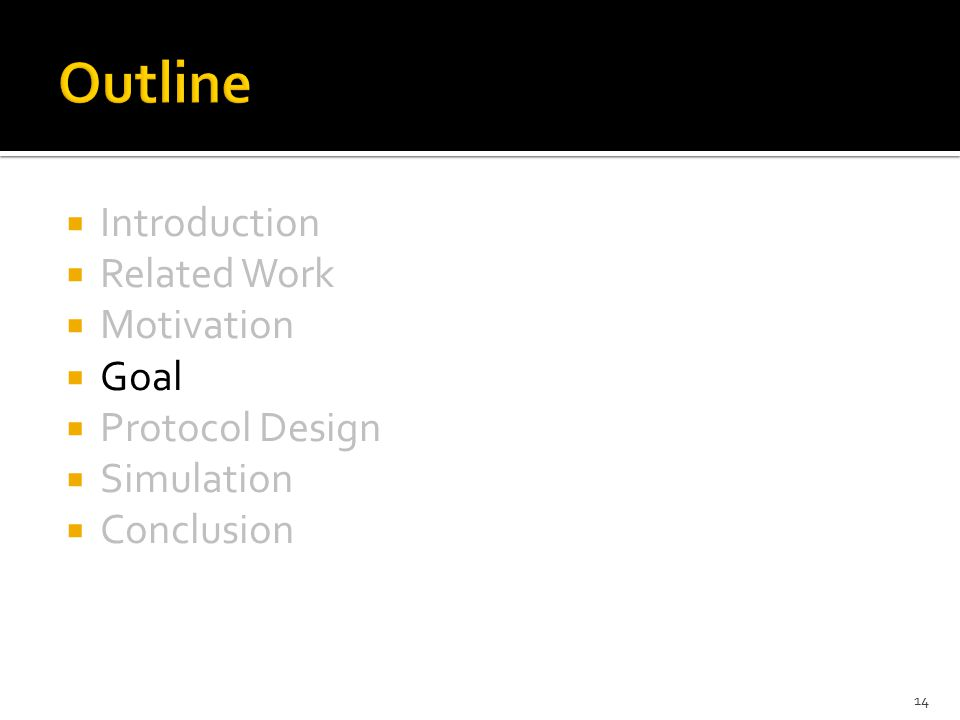  Introduction  Related Work  Motivation  Goal  Protocol Design  Simulation  Conclusion 14