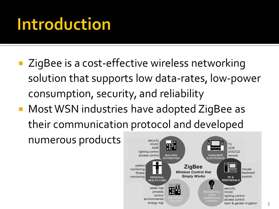  ZigBee is a cost-effective wireless networking solution that supports low data-rates, low-power consumption, security, and reliability  Most WSN industries have adopted ZigBee as their communication protocol and developed numerous products 5