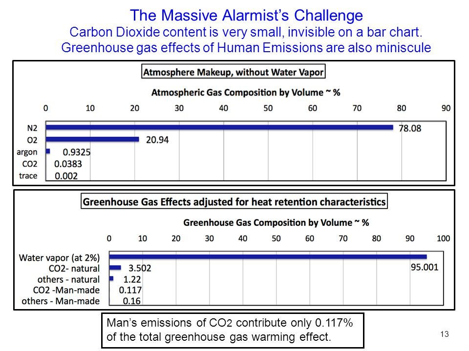 The Massive Alarmist's Challenge Carbon Dioxide content is very small, invisible on a bar chart.