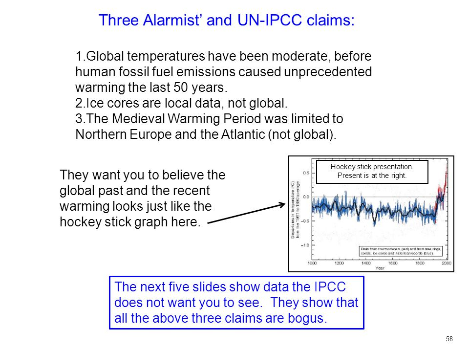 Three Alarmist' and UN-IPCC claims: 1.Global temperatures have been moderate, before human fossil fuel emissions caused unprecedented warming the last 50 years.